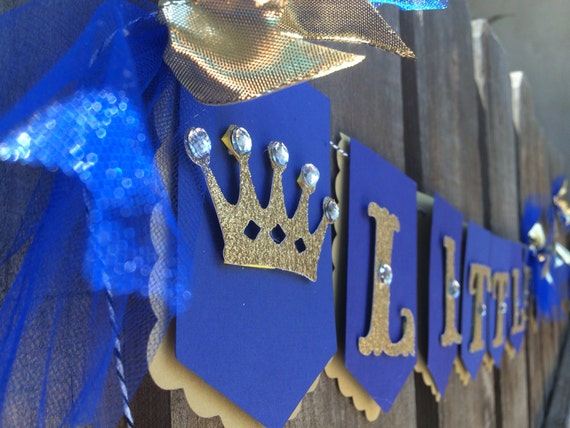 Little Prince Banner In Royal Blue Gold Glitter Photo