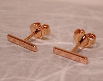 Susan Sarantos 10mm x 2mm 18k Rose Gold Earrings High Polish Bar Studs