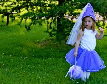 Purple Princess Costume Tutu Set with Tutu, Booming Hat and Whimsy Wand