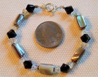 Artisan Bracelet - Shell - Glass Beads - Sterling Clasp - OOAK