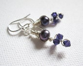 Swarovski Crystal & Purple Freshwater Pearl Vine Sterling Silver Earrings - UK Seller - Cotemporary Jewelry - Bridesmaid Wedding Jewelry