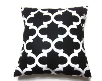 Decorative Pillow Cover Black White Damask Lattice Geometric Design Same Fabric Front/Back Toss Throw Accent Cover 18x18 inch x
