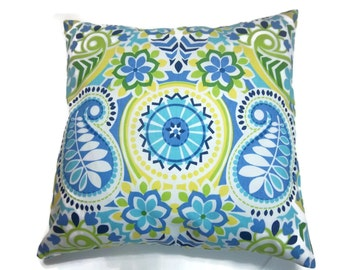 Decorative Pillow Cover Navy Blue Sky Blue Olive Green Turquoise Chartreuse Yellow White Same Fabric Front/Back Throw Accent 18x18  inch x