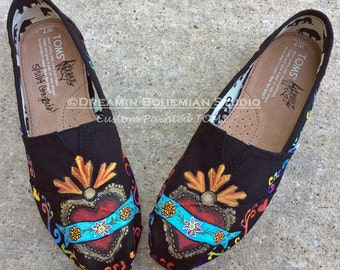 Folklorico Sacred Heart Hand Painted Custom TOMS matches Sugar Skull designs too