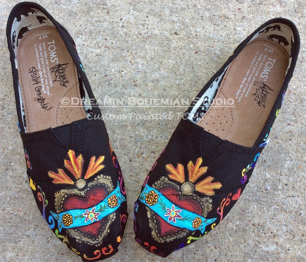 TOMS Custom Painted Toms Handpainted Immaculate Heart Flats