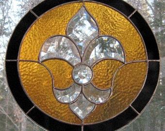 Black & Gold Fleur De Lis Stained Glass Bevel Panel