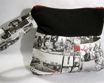Walking Dead wristlet purse zombie fabric clutch bag comic themed