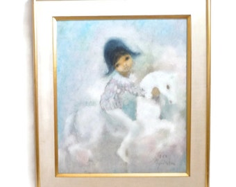 SUMMER SALE Mid Century Oil Painting  Modern Young Harlequin  Nursery Decor