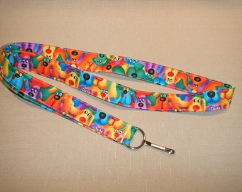 Rainbow dogs - Handmade fabric lanyard