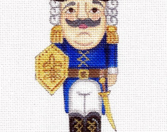 "Handpainted needlepoint canvas 6""Royal Blue Nutcracker on 18ct."