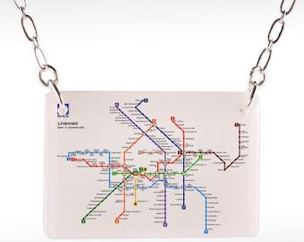 Berlin Transit Necklace - Berlin Necklace, Berlin Jewelry, berlin subway, subway jewelry, map necklace