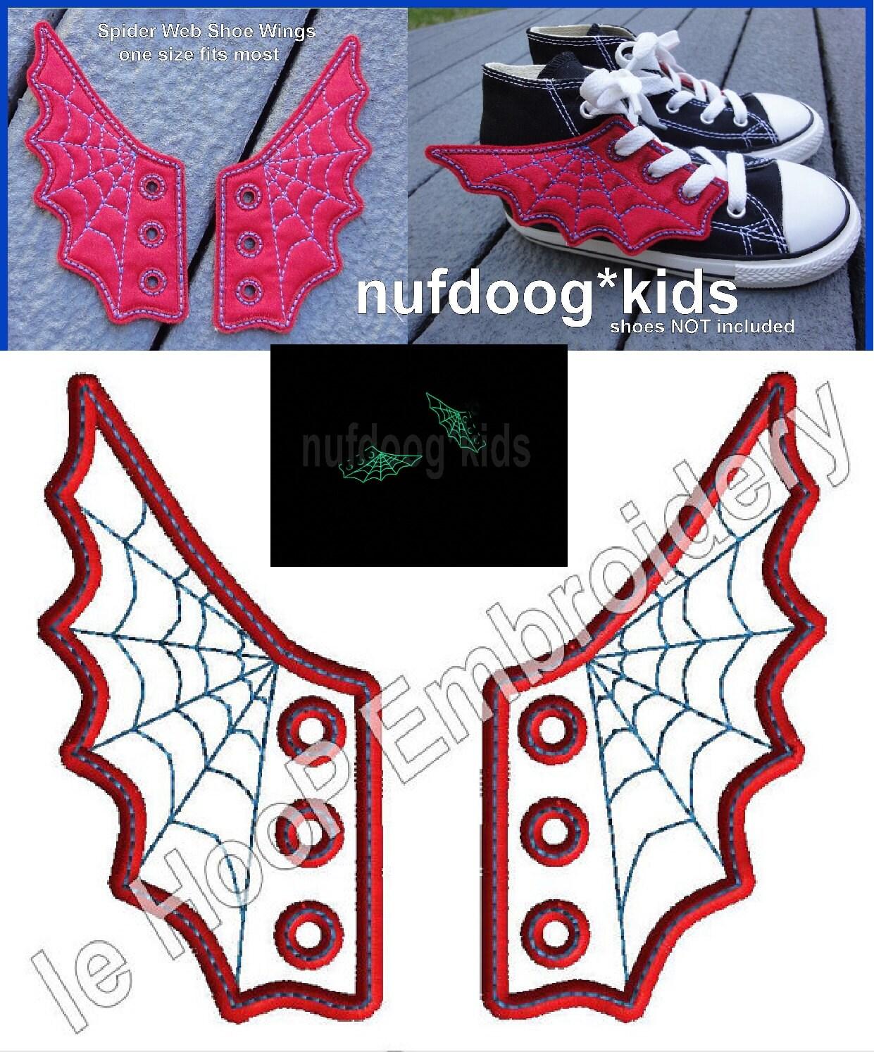 Spider web shoe wings machine embroidery in hoop