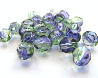 Translucent Two Toned Purple and Green FacetedCzech Glass Round Beads, 6mm - 25 pieces