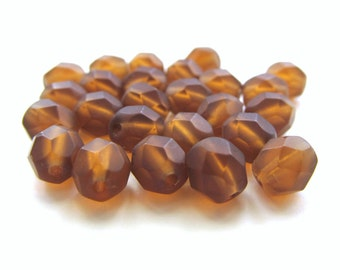 Matte Smoky Topaz Brown Faceted Round Glass Beads, 6mm - 25 pieces