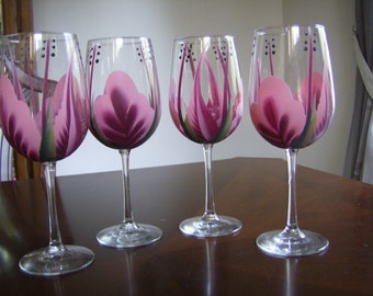 Wine glass/goblet Handpainted,  Pink