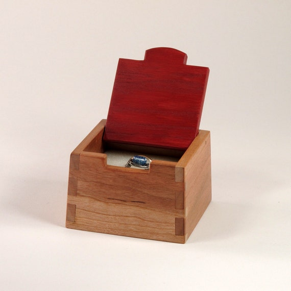 Handmade Cherry Wooden Ring Box with Red Lid