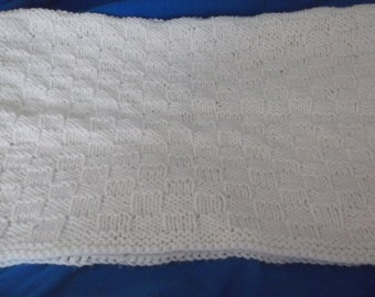 Knitted White Baby Blanket #5008