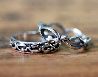 Infinity wedding band set, silver wedding ring set, infinity wedding rings, matching rings, oxidized silver wedding band set, wrought custom
