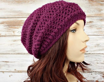 Purple Womens Hat - Penelope Puff Stitch Slouchy Beanie Plum Purple Crochet Hat Purple Hat Purple Beanie Womens Accessories - READY TO SHIP