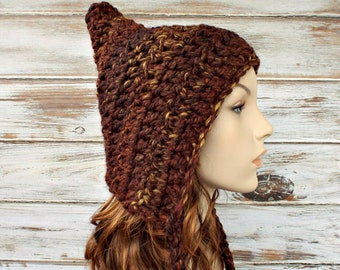 Crochet Hat Brown Womens Hat - Brown Pixie Hat in Sequoia Brown Crochet Hat - Brown Hat Womens Accessories Winter Hat