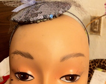 Silver Sequin with Veil Sprout and Tiny Satin Bow Retro Cap Style Fascinator Headband