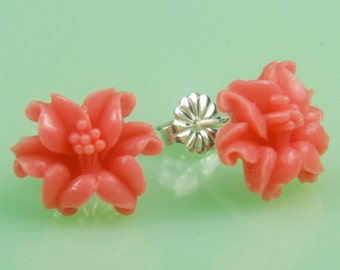 Vintage Coral  Flower Post Earrings