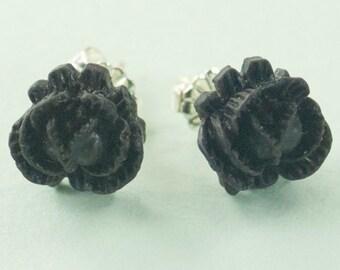 Vintage  Black Color Rose Button Post Earrings
