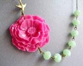 Hot Pink Flower Necklace,Floral Necklace,Hot Pink Necklace,Mint Necklace,Statement Necklace,Poppy Necklace,Bridesmaid Necklace,Wedding Set