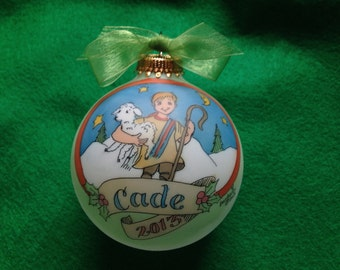 "New ""SHEPHERD BOY"" Ornament, Original Handpainted Personalized Ornament"
