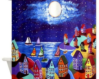 Colorful Night Sailing Moon Sailboats Folk Art Whimsical Colorful Bathroom Shower Curtain