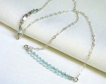 Aqua Crystal Bar Necklace, Sterling Silver Wire Wrapped Swarovski Crystal Stack, Handmade Jewelry March Birthday Gift for Her