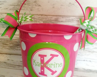 custom 10 QUART bucket with stacked name in pinks and greens