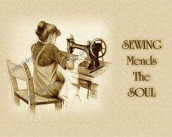 Fine Art Print, SEWING Mends The Soul, Drawing of Girl at Old Sewing Machine, Sepia Tones, Original Art