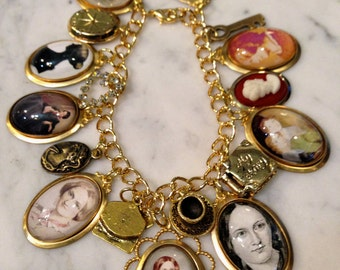 Charlotte Bronte Charm Bracelet Woeful and Golden