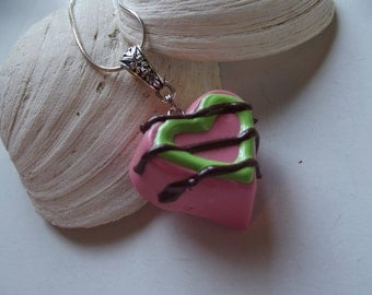 Pink Truffle Heart Polymer Clay Pendant Necklace - To Benefit Heart Strings