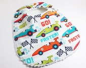 Cotton Chenille Toddler Bib with Adjustable Snaps - Fast Cars