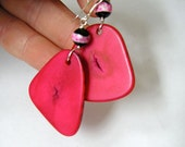 Hot pink Fuchsia Tagua Nut Earrings with etched agate on Sterling silver hooks Vegan ivory Eco friendly jewellery