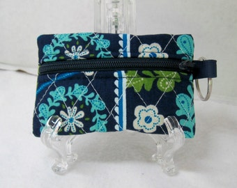 Quilted Coin Purse - Floral Change Purse - Small Zippered Pouch - Navy Olive Green Turquoise - Quilted Earbud Case