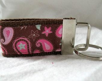Paisley Mini Key Fob - Small Key Chain - Pink Paisley Key Ring -  BROWN Zipper Pull - Paisley Backpack Identifier