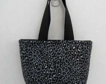 Cheetah Mini Purse - Animal Print Tote - Black Grey Cheetah Bag