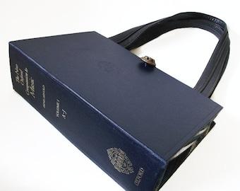 Book Purse New Oxford Companion to Music Handbag Dark Blue Navy Upcycled Repurposed Music Lover Gift