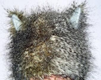 Brown Wolf Hat Gray black Feather Fur Long n Lush Woodland Wild Thing Cat Geek Fur Hat Adult