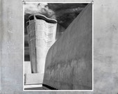 Black and white photography: Le Corbusier Marseilles Provence Cité Radieuse modernist architecture 8x12 20x30 fine art monochrome wall art