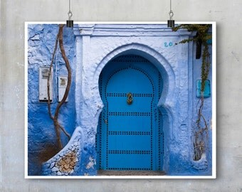 Morocco architecture Chefchaouen print blue decorative arch front door blue house photograph Morocco wall decor photo big print poster