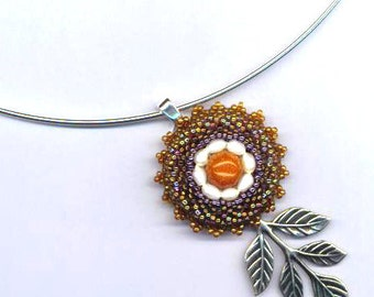 Beadwoven Goldstone Necklace . Freshwater Pearls . Brass Branch - Romantic Beauty by enchantedbeads on Etsy