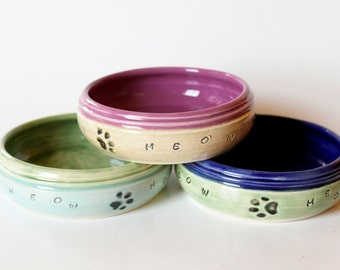 Custom Cat Food Bowl, Personalized with Name, Pet Bowl