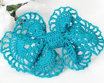 Turquoise Blue Bow Hair Clip, Crochet Large Hair Bow Barrette
