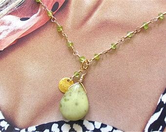 OOAK Peridot Necklace with Lime green stone pendant  in 14K gold filled