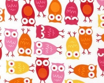 Ann Kelle Urban Zoologie, Owls Pink Fabric - REMNANT Size 28 Inches by 44 Inches