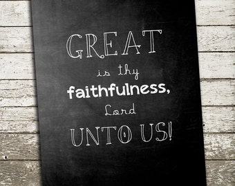 Bible Verse Wall Art - Great is thy Faithfulness Lord Unto Us - Scripture Art for the Wall